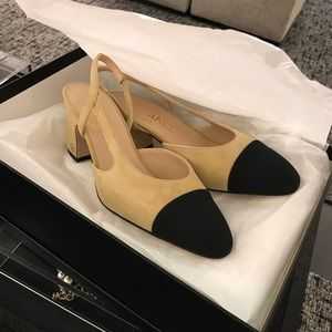 Authentic beige Chanel Slingback mid-heel shoes